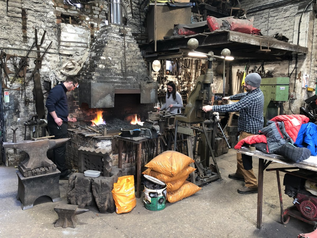 We were given the run of the forge at George James & Sons - they left us to it!